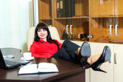 Beautiful smile woman relax in a office Royalty Free Stock Photos