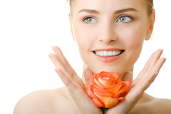 Beautiful smile woman with rose. Isolated Stock Image