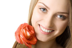 Beautiful smile woman with rose isolated. Beautiful smile woman portrait with rose isolated Stock Images