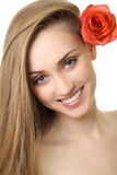 Beautiful smile woman with rose isolated Stock Photos