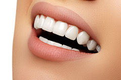 Beautiful smile of young fresh woman. With great healthy white teeth. Perfect smile after bleaching. Dental care and whitening teeth stock photos