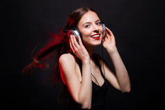 Beautiful smile young woman  music fan Stock Photography
