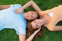 Beautiful smiles. Happy teenage couple with beautiful smiles Royalty Free Stock Photos