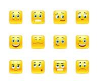 Beautiful smiles. Beautiful  smileys in yellow square shape Stock Photo