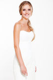 Beautiful smiley bride in white dress Stock Photos