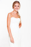 Beautiful smiley bride in white dress Royalty Free Stock Image