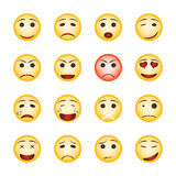 Beautiful smiley set. Collection of emoji icons on white background. vector illustration