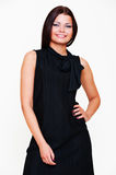 Beautiful smiley woman in black dress Royalty Free Stock Image