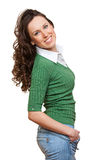 Beautiful smiley woman with curly hair Royalty Free Stock Photos
