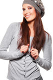 Beautiful smiley woman in hat Stock Photo