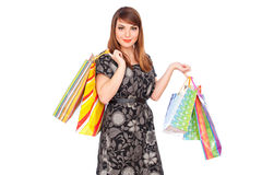 Beautiful smiley woman with shopping bags Stock Photo