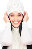 Beautiful smiley woman in white hat Stock Photography