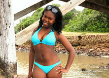 Beautiful smiling African girl in bikini Royalty Free Stock Photo