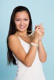 Beautiful smiling asian young woman Stock Photos