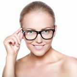 Beautiful smiling blonde in glasses Stock Photos