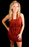 Beautiful Smiling Blonde Lady in a Red Dress Stock Photography