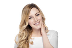 Beautiful smiling blonde woman  isolated on white. Royalty Free Stock Photos