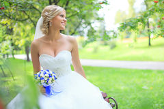Beautiful smiling bride. Beautiful bride outdoors. Wedding Day stock photos