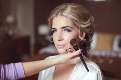 Beautiful smiling bride wedding with makeup and hairstyle. Styli Stock Image