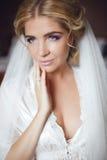 Beautiful smiling bride wedding portrait. Beauty fashion girl po Royalty Free Stock Image