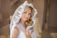 Beautiful smiling bride in wedding veil. Beauty portrait. Happy Royalty Free Stock Images