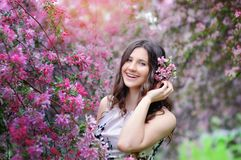 Beautiful smiling brunette in the flowered garden Stock Image