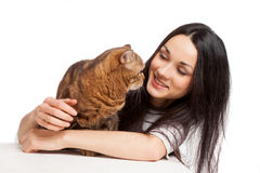 Beautiful smiling brunette girl and her ginger cat over white ba Stock Image