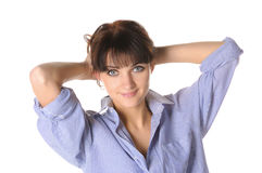 Beautiful smiling brunette in a man's shirt Royalty Free Stock Photos