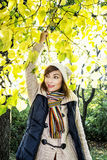 Beautiful smiling brunette posing under the beech tree in autumn Royalty Free Stock Images