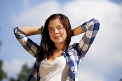 Beautiful smiling brunette teenage girl Stock Photo