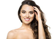 Beautiful smiling brunette on white background Royalty Free Stock Photography