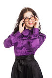 Beautiful smiling brunette woman wearing shirt, skirt and glasse Stock Photo