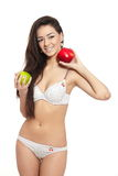 Beautiful smiling brunette woman in white lingerie Stock Images