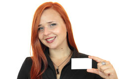 Beautiful smiling business woman with business card Stock Photo