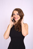 Beautiful smiling business woman have an emotion talking on the phone Royalty Free Stock Photos
