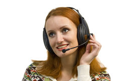 Beautiful smiling business woman with headset stock image