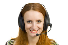 Beautiful smiling business woman with headset Stock Photography