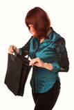 Beautiful smiling business woman holding black briefcase Stock Photo