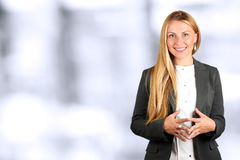 The Beautiful smiling business woman portrait. Business people working in the office royalty free stock photo