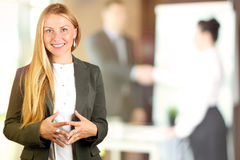 The Beautiful smiling business woman portrait. Business people working in the office royalty free stock images