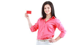 Beautiful smiling business woman showing red card in hand. Beautiful smiling business woman isolated on white Stock Photo