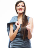 Beautiful smiling business woman standing against  Royalty Free Stock Photos