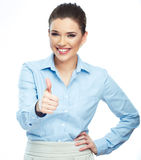 Beautiful smiling business woman standing against white backgrou Royalty Free Stock Image