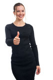 Beautiful smiling business woman. Thumb up. Stock Photography