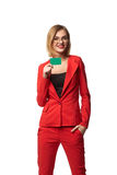 Beautiful smiling business woman wearing spectacles and in the r Royalty Free Stock Photography