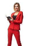 Beautiful smiling business woman wearing spectacles and in the r Royalty Free Stock Image