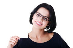 Beautiful smiling businesswoman with businesscard. Royalty Free Stock Photography