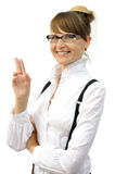 Beautiful smiling businesswoman in glasses Stock Photos