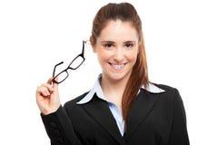 Woman holding eyeglasses Royalty Free Stock Photography