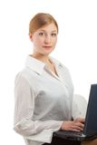 Beautiful smiling businesswoman looking at camera Stock Photo